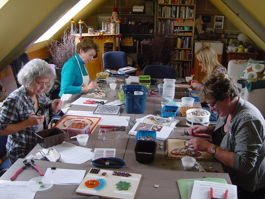 Fantastic mosaics were produced during my latest mosaic workshop at the Old Blacksmith's Shop, Foggathorpe, North Yorkshire